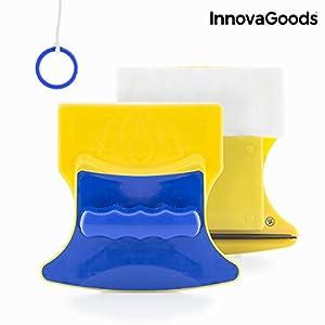 InnovaGoods Mini Limpiacristales Magnético, PP, Amarillo y Azul, 11x11.5x5.5 cm