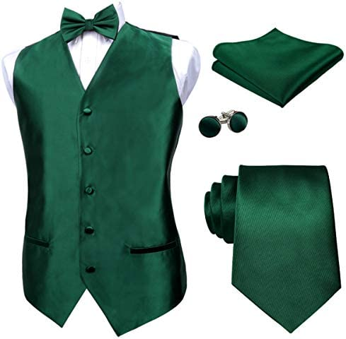 Alizeal Mens Solid Color Satin Pre tied Bow Tie 9cm Necktie Hanky Cufflinks and Waistcoat Set product image