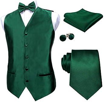 Alizeal Mens Solid Color Satin Pre-tied Bow Tie 9cm Necktie Hanky Cufflinks and Waistcoat Set Dark Green-S