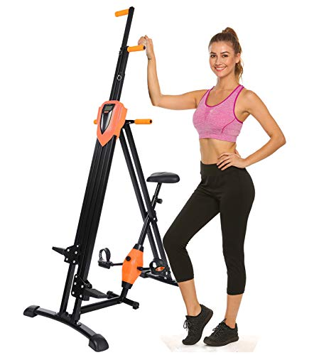 Hurbo Vertical Climber Home Gym Exercise Folding Climbing Machine Exercise Bike for Home Body Trainer Stepper Cardio Workout Training Non-Stick Grips Legs Arms Abs Calf (Orange)