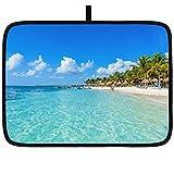 Alfombrilla para secar platos para la cocina Riviera Maya Paradise Beaches Cancún Quintana Alfombrilla para escurrir sobre encimera Escurridor de platos ultra absorbente de 18''x24 'Alfombrilla para