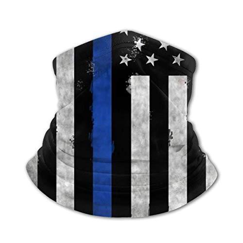Máscara facial multifuncional, con bandera de la policía americana, color negro, blanco y azul, anti rayos UV, para el cuello, para mujeres, hombres, bandana facial