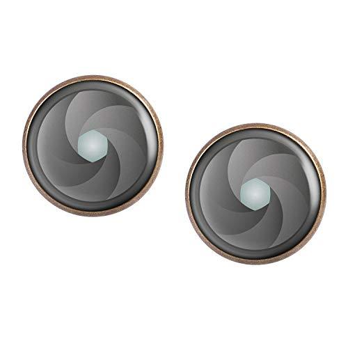 Paire de boucles d'oreilles avec motif Ouverture Ouverture DSLR appareil photo numérique bronze 16mm