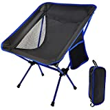 Camp Solutions Portable Camping Chair - Compact Ultralight Folding Backpacking Chairs, Small Collapsible Foldable Packable Lightweight Backpack Chair in a Bag for Outdoor, Camp, Picnic, Hiking (Blue)