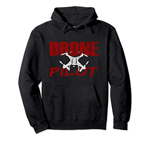 Drone Pilot Caution Quadcopter Flying Front & Back Design Pullover Hoodie