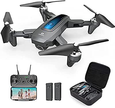 DEERC D10 Foldable Drone with Camera for Adults 1080P HD FPV Live Video, Tap Fly, Gesture Control, Selfie, Altitude Hold, Headless Mode, RC Quadcopter for Beginners with 2 Batteries and Carrying Case