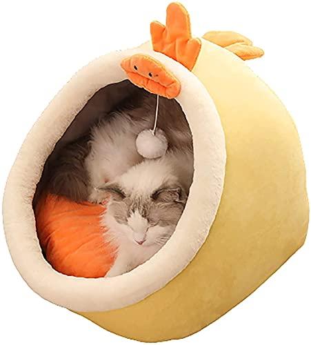 Cama de Mascotas Fluffy Short Llush Cat Litter, Casa Cerrada Casa Casa de Invierno Cálida Cuerda Mascota, Universal en Todas Las Estaciones, Suave y cómodo, con Bola Colgante de Gato columpiándose