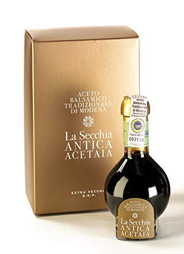 La Secchia - 'Extra Vecchio', Vinagre Balsámico Tradicional de Módena DOP, Envejecido Mínimo 25 Años, Botella 100 ml con Estuche y Dosificador de Vidrio Soplado, Idea de Regalo