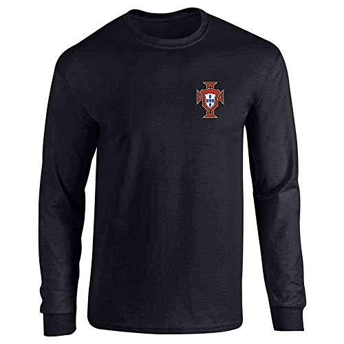 Portugal Soccer Retro National Team Football Black L Full Long Sleeve Tee T-Shirt