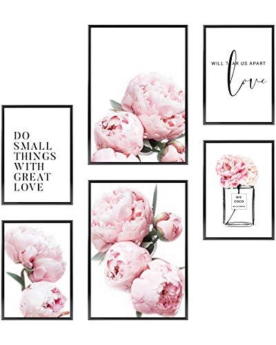 Heimlich Set di Stampe da Parete - Decorazioni da Muro per Soggiorno, Camera da Letto e Cucina - Poster Abbinati - 2 x A3 (30x42cm) et 4 x A4 (21x30cm) | Senza Cornici »Coco Rose di Pentecoste «