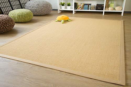 Sisal Teppich Brazil mit Bordüre Farbe natur beige Premium Qualität 100% Sisal, Größe: 140x200 cm