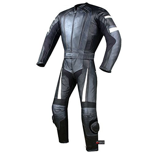 New Men's 2PC Motorcycle Riding Racing Leather 2 PC Suit w/Padding & Hump 40