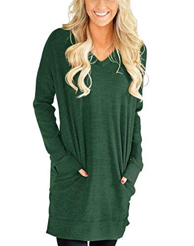 XUERRT Womens Casual V-NECK Long Sleeves Pocket Sweatshirt Tunics Blouse Tops(X9009Green,L)