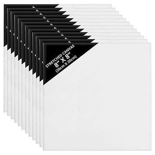 Kurtzy Blanka Kanvas (12 Pack) – 20 x 20 cm – Redan Utsträckta Fyrkantiga Kanvaspaneltavlor – Lämplig för Akryl och Oljefärg men även för Skissning och Ritning