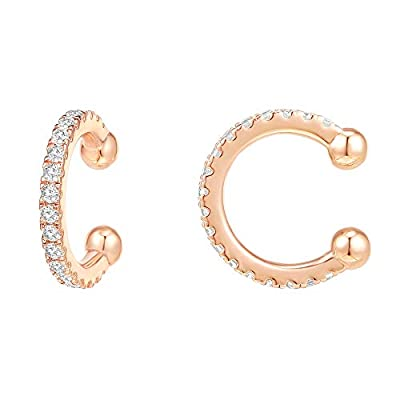 PAVOI 14K Gold Plated 925 Sterling Silver Cubic Zirconia Sparkling Round Huggie Ear Cuff Earrings in Rose Gold