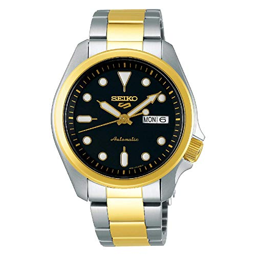 Seiko 5 Sports Black Dial Silver and Gold Stainless Steel Bracelet Men's Watch SRPE60K1