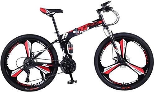 HCMNME Mountain Bikes, 24 Pollici Pieghevole Mountain Bike Doppio Ammortizzatore Ammortizzatore Racing off-Road Variabile velocità Bicicletta Bicicletta a Tre Ruote Telaio in Lega con Freni a Disco