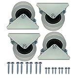 (Paquete de 4 piezas) Ruedas giratorias fijas grandes de 50 mm Ruedas resistentes Ruedas no giratorias Ruedas de goma para carrito de mesa de muebles (4)