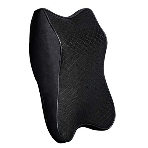 Homthia Car Seat Neck Pillow,Headrest Cushion Head Pad for Neck Pain Relief & Cervical Support with Double Fixation Straps & Washable Cover - 100% Pure Memory Foam Ergonomic Design (Medium, Black)