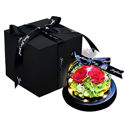 Lámpara de cúpula de cristal con diseño de rosa encantada, con base de pino, regalo de San Valentín, boda, aniversario, regalo de cumpleaños, 3 rosas rojas
