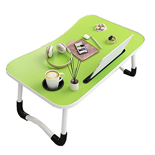 XH Mesa de Cama para portátil Escritorio de Regazo portátil con Patas Plegables para Soporte de Lectura para portátil (Color : Green, Size : 60 * 40 * 28cm)