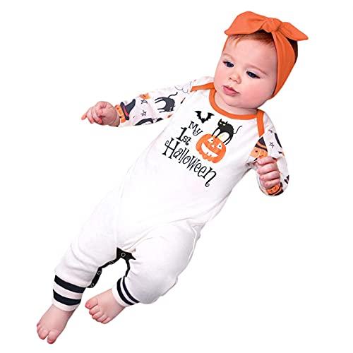 YWLINK Mono Calabaza Bebé Halloween Unisex Onesie Mameluco Bebé ReciéN Nacido Manga Larga Estampado Calabaza Disfraces NiñA Estampado Fantasma Calabaza Halloween CóModo 3-24 Meses