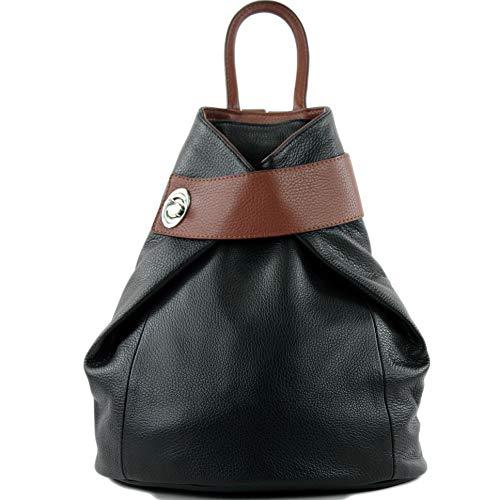 modamoda de - T179 - ital: Damen Rucksack Tasche aus Leder, Farbe:Schwarz/Braun