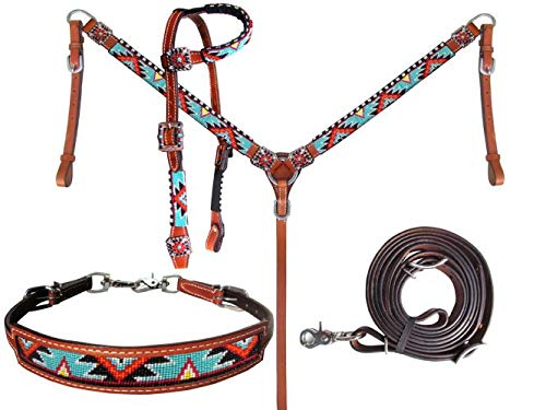 Showman Beaded Aztec 4 Piece Headstall & Breast Collar Set