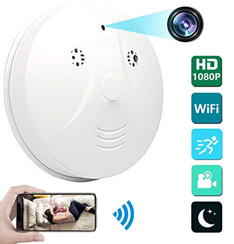 Heymoko WiFi Night Vision Smoke Detector Camera Wi-Fi Hidden Spy Camera Motion Detection 1080P Wireless IP Indoor Baby Pet Monitor Remote Free App View Nanny Cam Home Security Camera