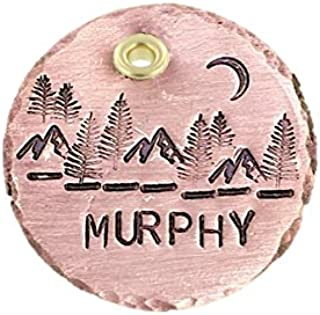 The Mountains are Calling Handmade Pet ID Dog Tag - Personalized Mountain Scene - Engraved Pet Tag - Dog Tag for Dogs - Copper 1 1/4