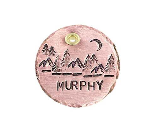 """The Mountains are Calling Handmade Pet ID Dog Tag - Personalized Mountain Scene - Engraved Pet Tag - Dog Tag for Dogs - Copper 1 1/4"""" Disc"""