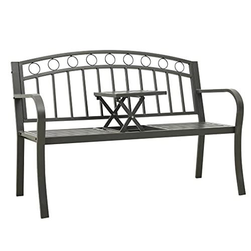 Gartenbank mit Klapptisch, 3-Sitzer, integrierte Tischablage, robuste Sitzbank,125 cm Stahl Grau