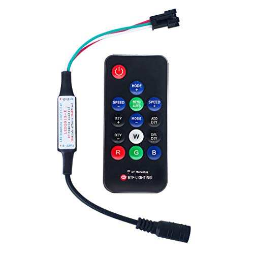 BTF-LIGHTING WS2811 and WS2812B DC5-12V 14keys Wireless RF Led RGB Controller 300 kinds of changes Digital Color LED Light Pixel Strip modules Black