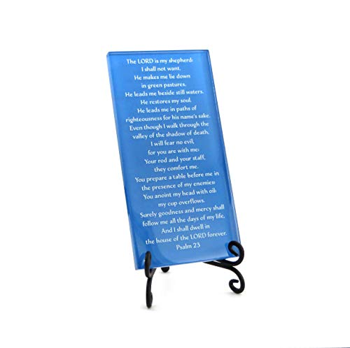 Lifeforce Glass The Twenty-Third Psalm, Comforting, Reassuring Psalm on Glass Plaque with Folding Easel. Medium Blue.