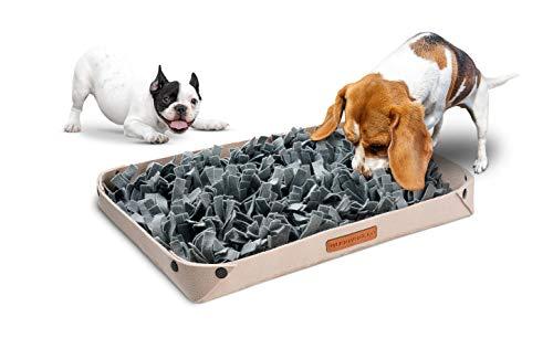 BUDDYBELLO Schnüffelteppich, natürliches Intelligenzspielzeug für Hunde, extra Lange 7cm Filz-Fransen, effizientes Hundetraining Zubehör für mehr Geschicklichkeit, aufklappbares Körbchen