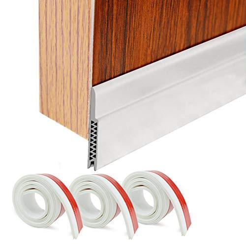 HORLIMER Door Draft Stoppers Set of 3 White Under Door Sweep Seal Strip for Interior & Exterior Doors, 1.8' W x 39.3' L Silicone Door Bottom Weather Stripping Draft Blocker