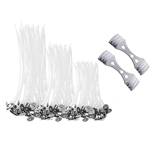 Candle Wicks, SMALUCK 150pcs Natural Long Pre Waxed Wicks Candle Wick with 2pcs 3-Hole Candle Wicks Holder for DIY Candles Craft Tools Candle Making Kit (10cm, 15cm and 20cm)