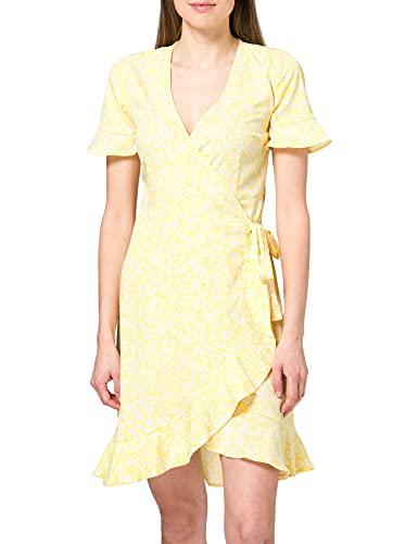 ONLY Damen ONLOLIVIA S/S WRAP Dress WVN NOOS Kleid, Cream Gold/AOP:Winni Ditsy, 38
