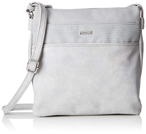 Tamaris Damen Khema Crossbody Bag M Umhängetasche, Grau (Light Grey Comb) 2.5x24x25 cm