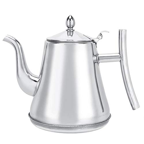 Teekanne mit Siebeinsatz, Edelstahl Teekanne (mit Aufguss), neuartige polierte Edelstahl-Teekanne mit Deckel, verwendet für Bulk Tea Coffee Household Teapot(1.8L)