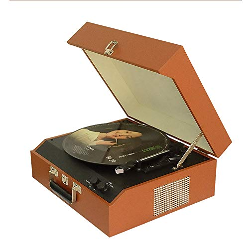 AIBAB Tocadiscos De Vinilo Gramófono Retro Vintage Portátil Pequeño Tocadiscos Antiguo Tocadiscos De 3 Velocidades Maleta/Maletín Estilo con Bluetooth