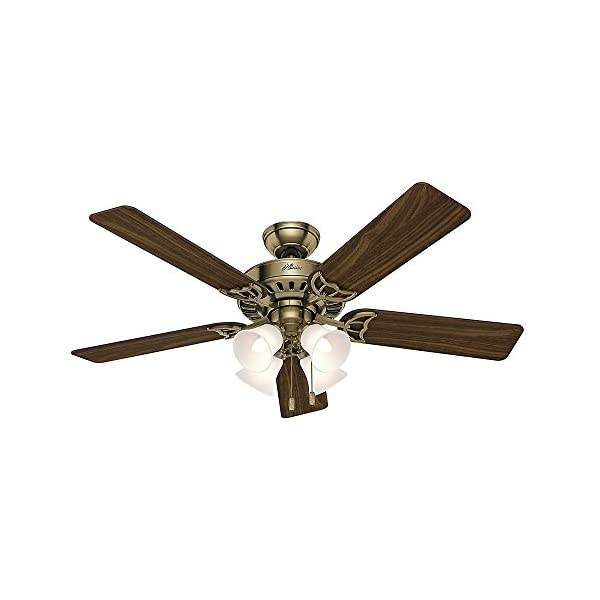 """Hunter 53063 Traditional 52""""Ceiling Fan from Studio Series collection finish, Antique Brass"""