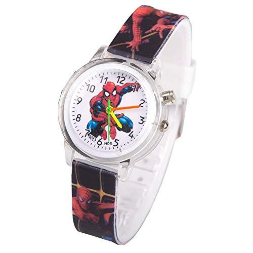 SGHH-UK Toy Watch for bambini, Spider-Man impermeabile orologio da polso con cinturino gel di silice, Led Flash orologio da polso al quarzo Cronografo for i più piccoli bambini dei ragazzi delle ragaz