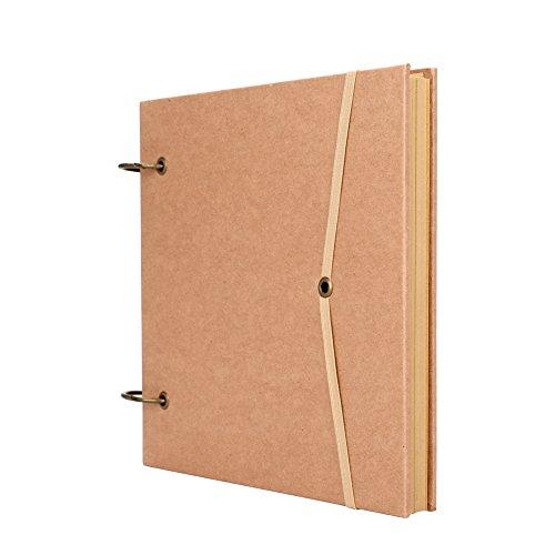 Álbum de recortes A4 Kraft, carpeta de anillas en blanco, bloc de notas, hojas sueltas, cuaderno de dibujo, diario para dibujar y escribir con cierre de banda elástica, color yellow kraft Square