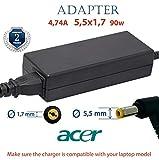 Acer Ladegerät 4.74A 5,5x1,7 19v 90w | Laptop Netzteil Acer Aspire, Extensa, Ferrari und TravelMate | 2 Jahre Garantie auf das Ladekabel Acer Laptop | Laptop Acer Netzteil für Acer