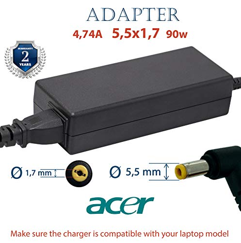 Charger Cable ACER 4.74a 19V 90w 5.5x1.7 | Chargers Adapter for 19v Notebook | Power Supply Cord 90w | Aspire Extensa Ferrari TraverMate