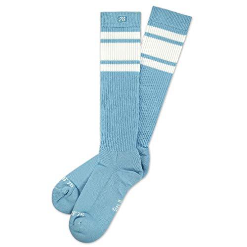 Spirit of 76 Herren & Damen Sport Retro Skater Socken Hoch Baumwolle Tubesocks Lang 35 36 37 38 Blau - Weiß Hi (S)