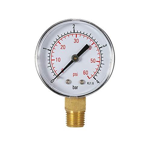 """Medidor de Presion de agua Calibrador de presión de piscina 60PSI 1/4""""NPT Montaje inferior, rosca de tubería en pulgadas Escala mecánica Manómetro de presión Medidor de presión de agua y gas"""
