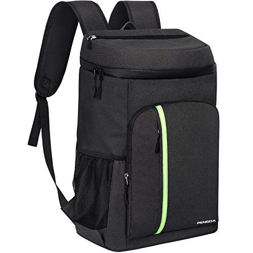 Sac à dos isotherme PENGDA de 30L – Sac à dos glacière isotherme léger resistant à l'eau avec une grande capacité de 39 canettes pour Camping/Randonnée/Pique-nique/BBQ, sac à dos noir.