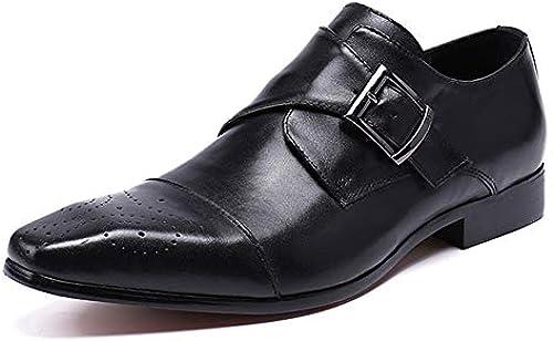 Rui Landed Oxford Für Mann Formelle Schuhe Slip On Style Hochwertiges Echtes Leder Exquisite Verschluss Mode Klassische Brogue Carving Nachtclub (Farbe   Schwarz Größe   46 EU)